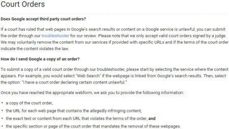 First Amendment, censorship, court orders, Google