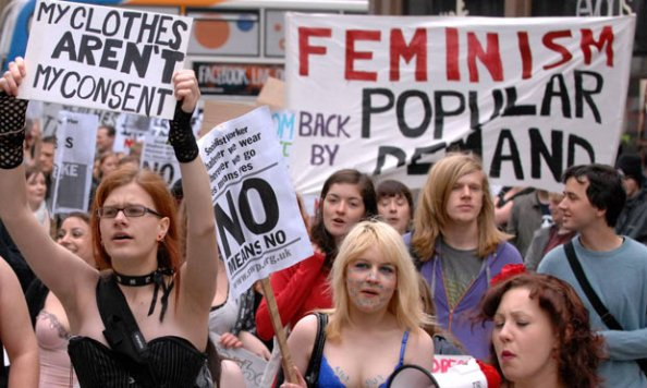 Protesters march on a SlutWalk in Newcastle
